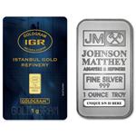 1 oz Johnson Matthey Silver Bar & 1 Gram IGR 24K 9999 Gold Bar