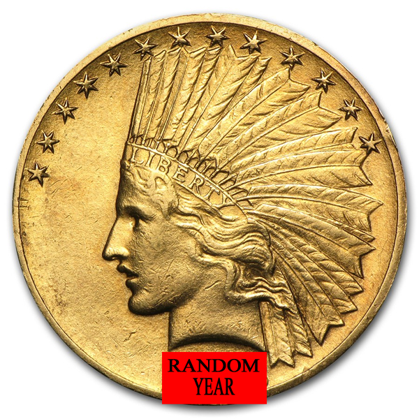 $10 Gold Indian Head Eagle Coin - Random Year