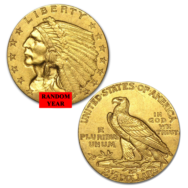 $2.5 Gold Indian Head Eagle Coin Random Year