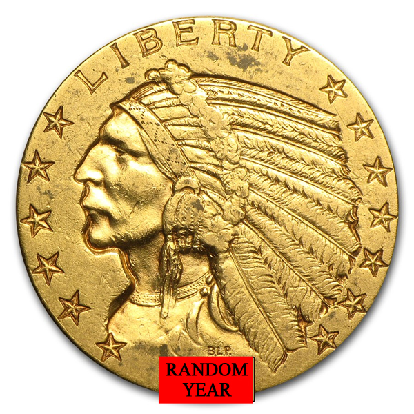 $5 Gold Indian Head Eagle Coin - Random Year