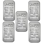 Lot of 5 - 1 oz Johnson Matthey Silver Bar .999 Fine Silver