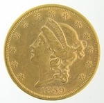1859-S $20 PCGS AU53 Gold Double Eagle Liberty Coin
