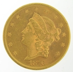 1876 $20 PCGS AU58 Gold Double Eagle Liberty Coin