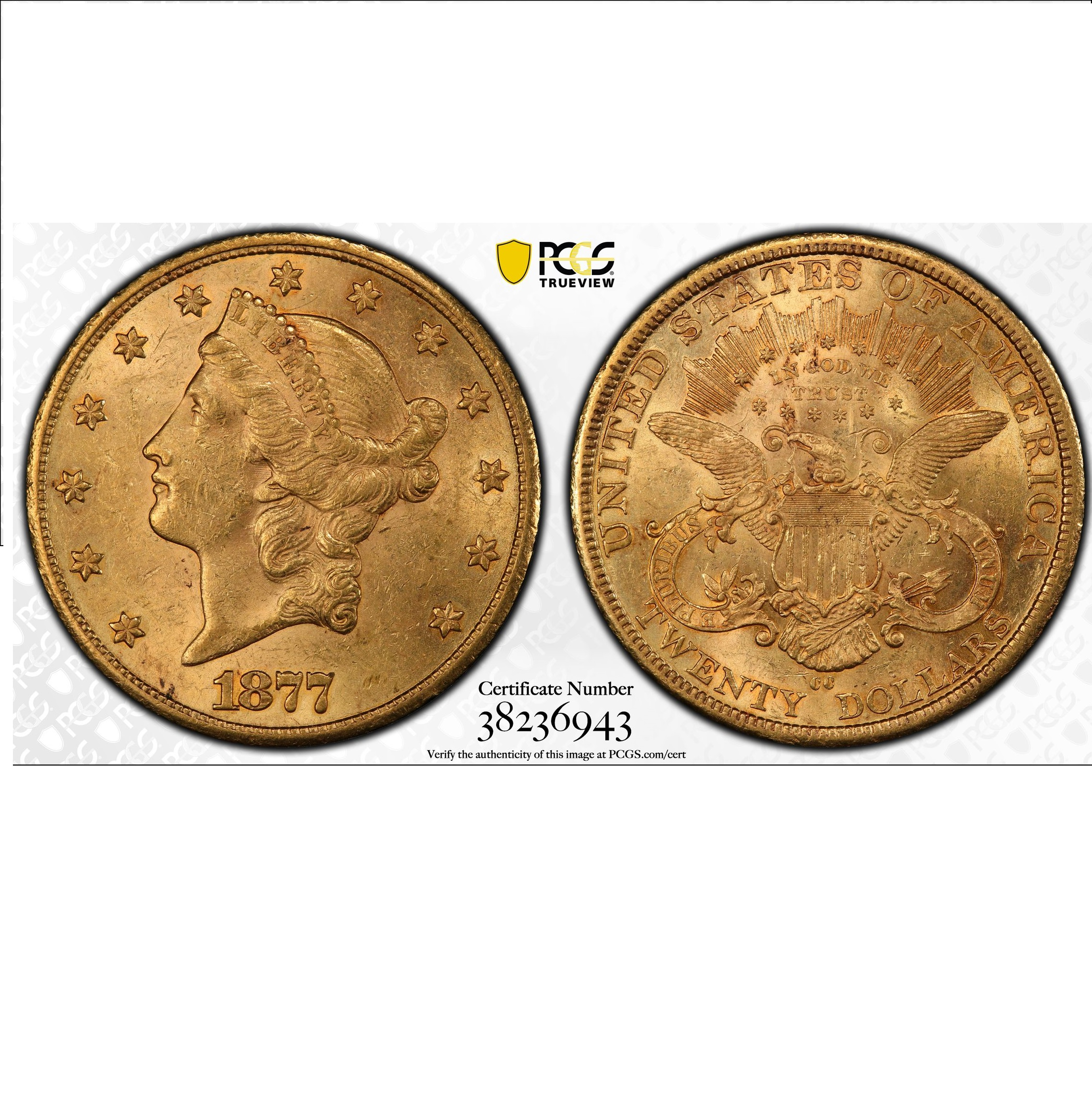 1877-CC $20 PCGS AU58 Gold Double Eagle Liberty Coin