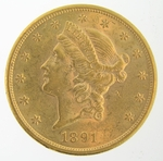 1891-S $20 PCGS AU58 Gold Double Eagle Liberty Coin
