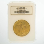 1908 $20 MS-62 No Motto NGC Gold Double Eagle Saint Gaudens Coin