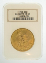 1908 $20 MS-63 No Motto NGC Gold Double Eagle Saint Gaudens Coin