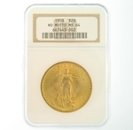 1908 $20 MS-64 No Motto NGC Gold Double Eagle Saint Gaudens Coin