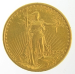 1909/8 $20 Gold Double Eagle Saint Gaudens Coin PCGS AU-53
