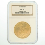 1911 D $20 NGC AU 58 Gold Double Eagle Saint Gaudens Coin