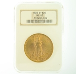 1923 D $20 MS-62 NGC Gold Double Eagle Saint Gaudens Coin