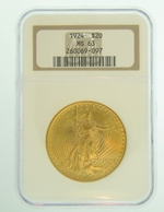 1924 $20 MS-63 NGC Gold Double Eagle Saint Gaudens Coin