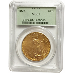 1924 $20 MS-61 PCGS Gold Double Eagle Saint Gaudens Coin