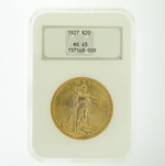 1927 $20 MS-63 NGC Gold Double Eagle Saint Gaudens Coin