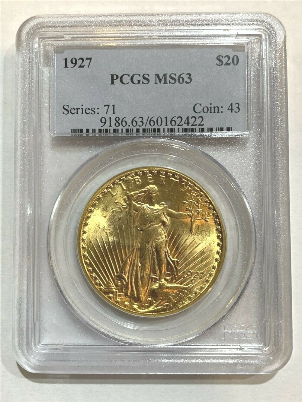 1927 $20 MS-63 PCGS Gold Double Eagle Saint Gaudens Coin