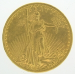 1908-D $20 NO Motto Gold Double Eagle Saint Gaudens PCGS AU-58