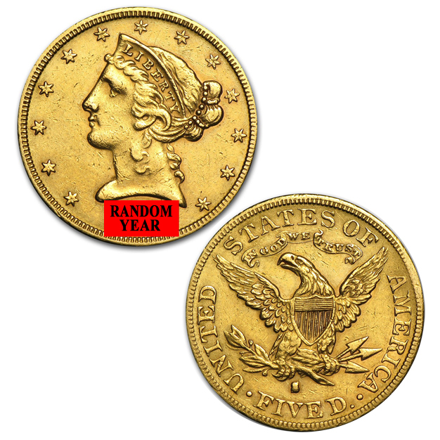 $5 Gold Eagle Liberty Coin 1849-1907 Random Year