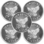 Lot of 5 - 1/2 oz Silver Sunshine Mint Round 999 Fine Silver