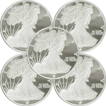 Lot of 5 - 1/2 oz Silver Walking Liberty Round 999 Fine Silver