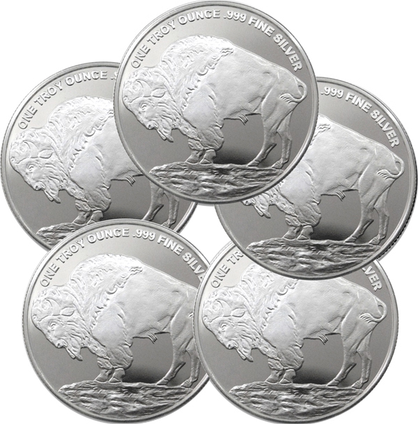 Lot of 5 - 1 oz Silver Buffalo Round - Mason Mint (MM)