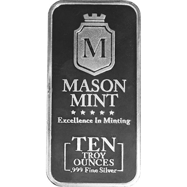 10 oz Mason Mint Silver Bullion Bar 999 Fine Silver