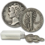 Mercury Dimes 90% Silver 50 Coin Roll $5 Face Value Avg. Circ.