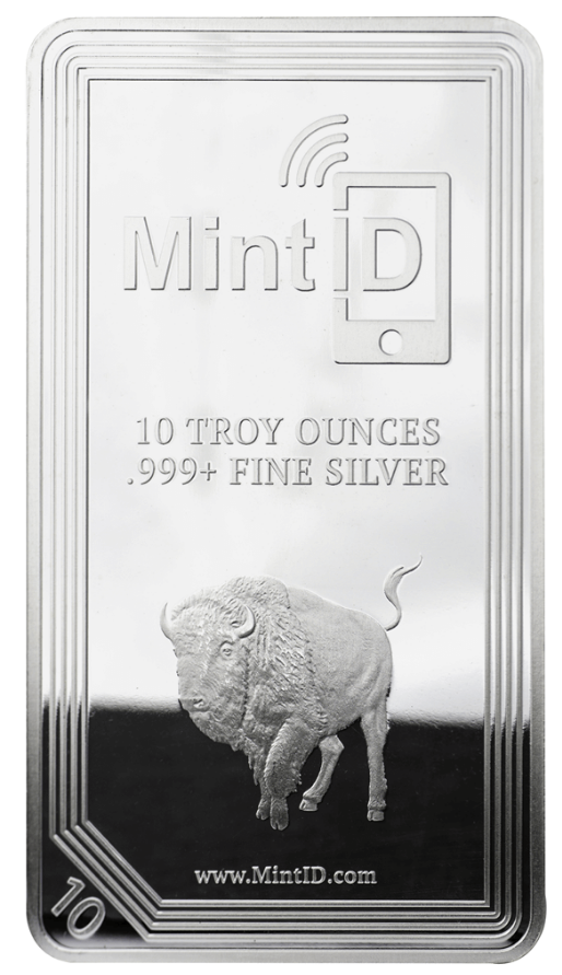 10 oz MintID Buffalo Silver Bar .999+ Fine (NFC Chip)