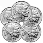 Lot of 5 - 1 oz Silver Buffalo Round Coin 999 NTR