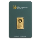 10 Gram Perth Mint Gold Bar .9999 Fine Gold With Assay Cert