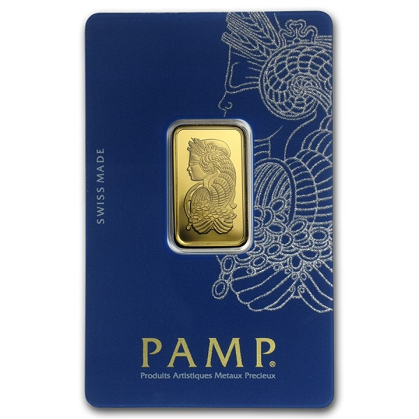10 gram Gold Bar - PAMP Suisse Lady Fortuna Veriscan In Assay