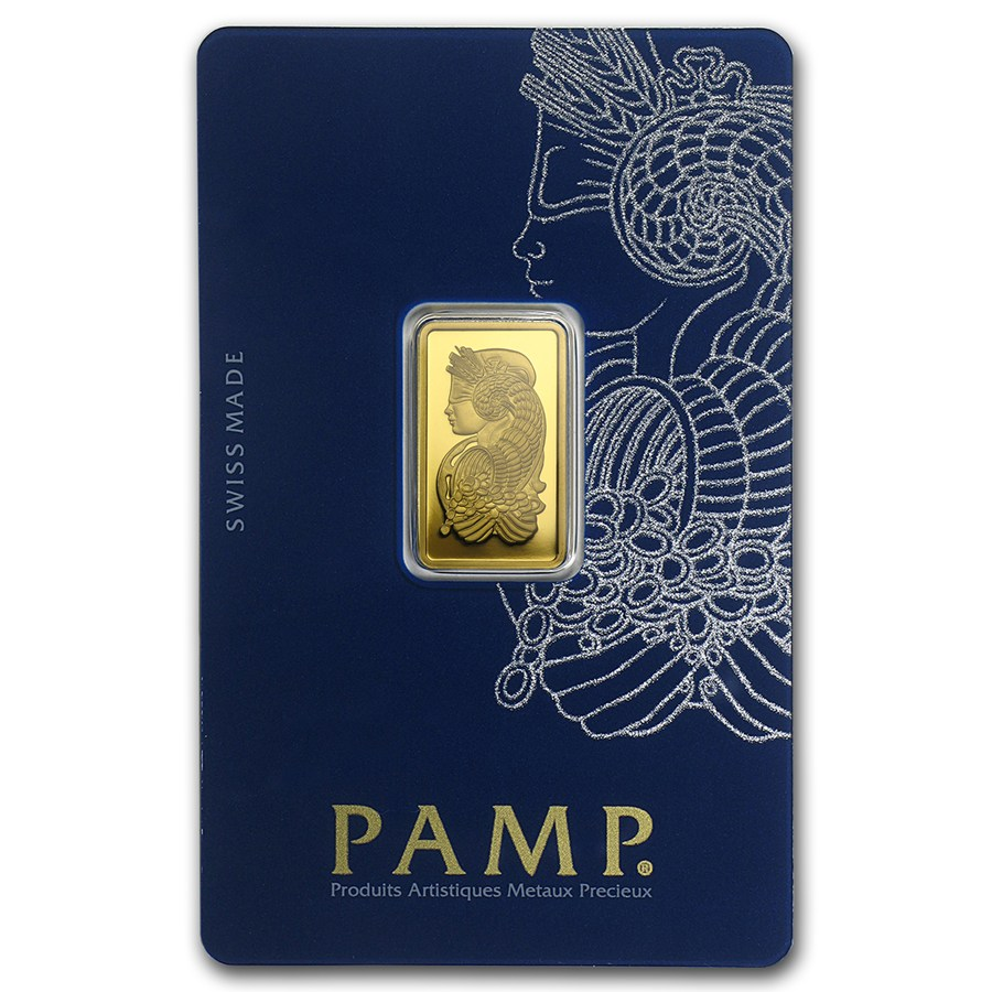 5 Gram Pamp Suisse Gold Bar .9999 Fine Gold With Assay Cert