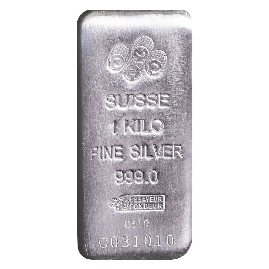 PAMP Suisse 1 Kilo 32.1 oz Silver Cast Bar .999 Fine -Assay Card
