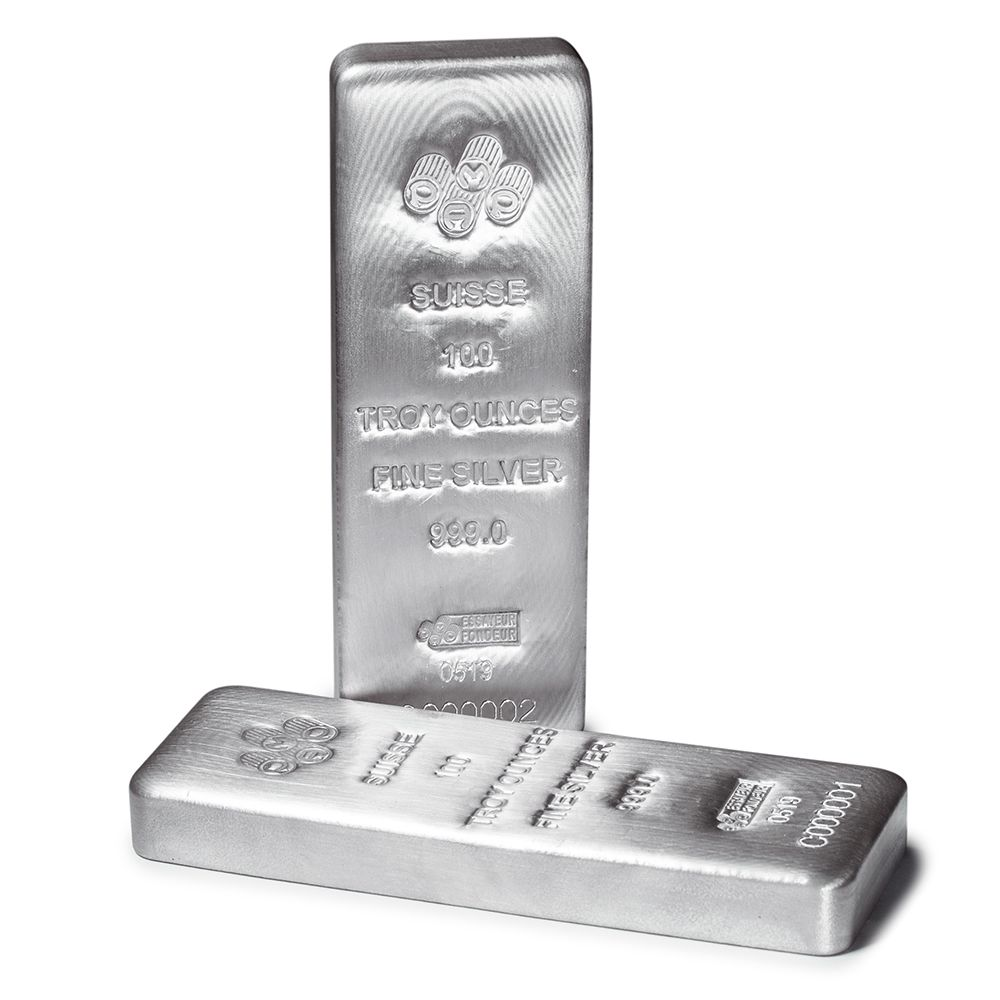 100 oz PAMP Suisse Silver Cast Bar .999 Fine Silver -Assay Card