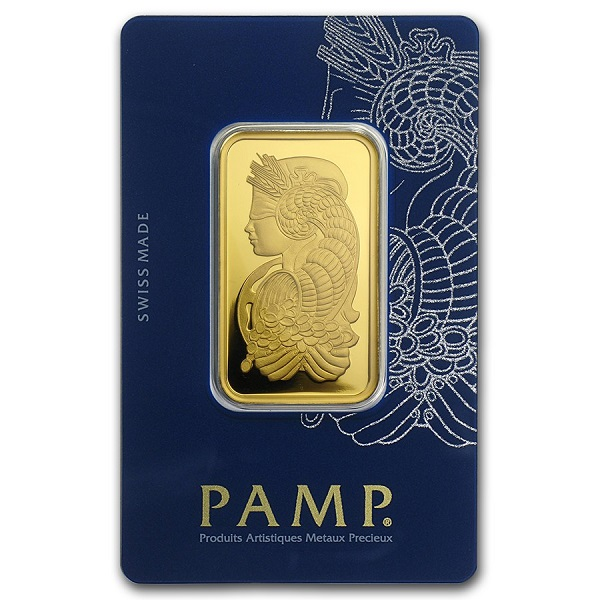 1 oz Gold Bar - PAMP Suisse Lady Fortuna Veriscan In Assay
