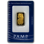 10 Gram Pamp Suisse Gold Bar .9999 Fine Gold With Assay Cert