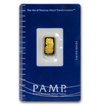 1 Gram Pamp Suisse Gold Bar .9999 Fine Gold With Assay Cert