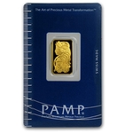 2.5 Gram Pamp Suisse Gold Bar .9999 Fine Gold With Assay Cert