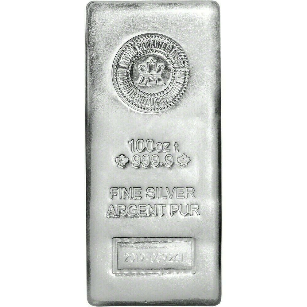 100 oz Royal Canadian Mint RCM Silver Bar .9999