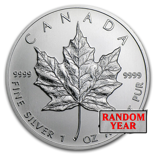 Canadian 1 oz Silver Maple Leaf Coin BU - Random Year