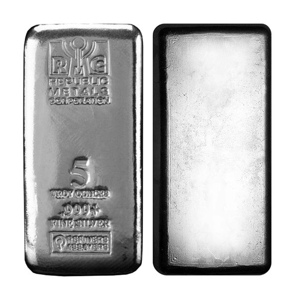5 oz Republic Metals (RMC) Silver Bar .999 Fine Silver