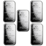 Lot of 5 - 1 oz RMC Silver Bar .999 Fine Silver