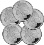 Lot of 5 - 1 oz Silver Buffalo Round Coin 999 RMC