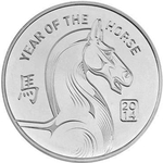 1 oz Silver Year of the Horse Round 999 1 Troy Ounce Fine Silver
