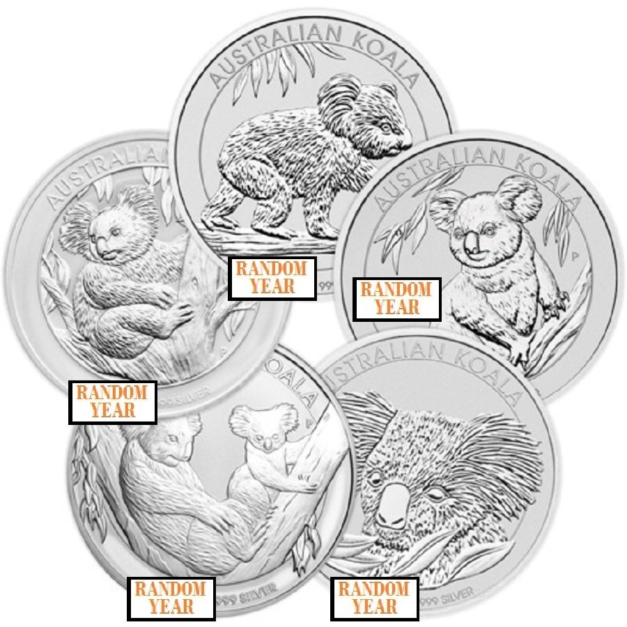 Lot of 5 - Random Year - 1 oz Silver Australian Koala Coin BU