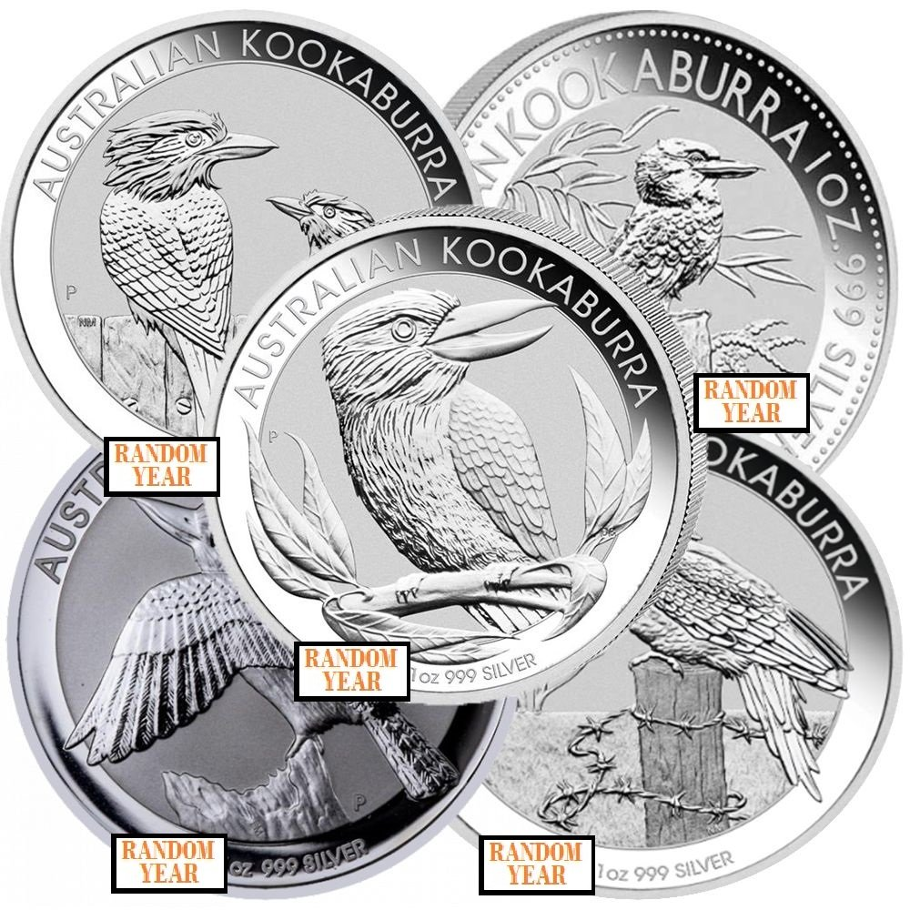 Lot of 5 - Random Year - 1 oz Silver Australian Kookaburra BU