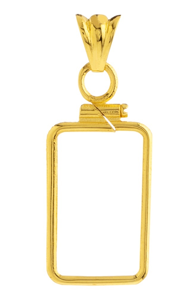 14K Gold Screw Top Plain Bezel - Fits Pamp Suisse 1 Gram Bar