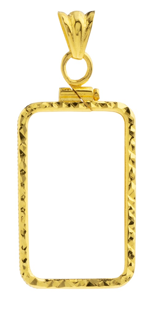 14K Gold Screw Top Diamond Cut Bezel-Fits Pamp Suisse 10 Gr Bar