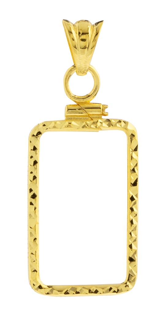 14K Gold Screw Top Diamond Cut Bezel - Fits Pamp Suisse 5 Gr Bar