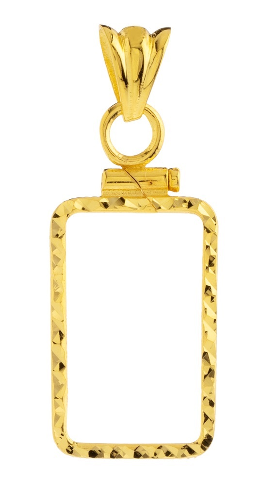 14K Gold Screw Top Diamond Cut Bezel Fits Pamp Suisse 1 Gram Bar