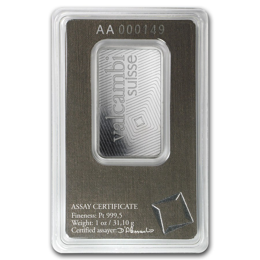 1 oz Platinum Bar - Valcambi 9995 Fine With Assay